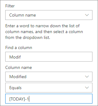 Filter for a document library using Column name