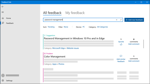 The Search Feedback dialog in Feedback Hub