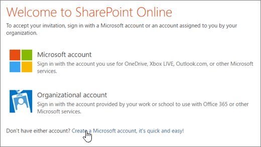 A screenshot showing the SharePoint Online sign-in screen, with the link to create a Microsoft account selected.