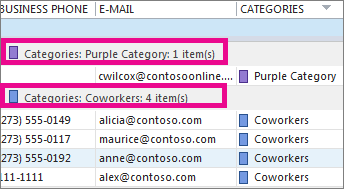 Add contacts to color categories - Outlook