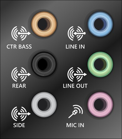 sound system 5 mm jacks for cables and cords