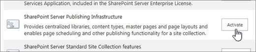 activate the publishing infrastructure feature