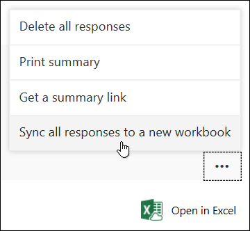 Sync all responses to a new workbook option in Microsoft Forms