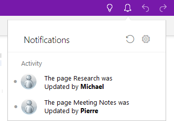 Shows Notifications pane with two entries for recent edits.
