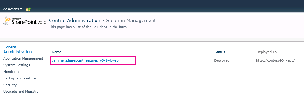 Yammer web part solution deployed to farm