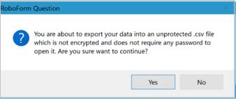 Desktop Roboform export confirmation dialog box