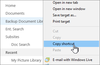Right-click on library in quick launch, select Copy shortcut