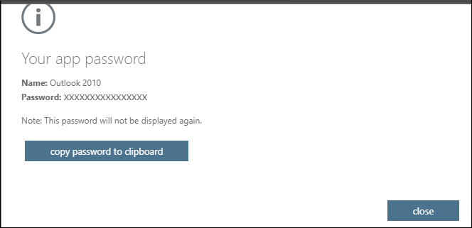 Your app password page with the password for your specified app