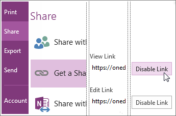 Screenshot of how to disable a link in OneNote 2016.