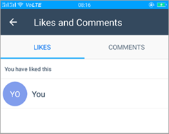 Screenshot of the Like and Comments page in Kaizala