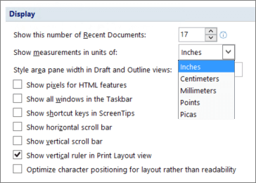 Screenshot shows the option selected to show vertical ruler in Print Layout view and options for units of measurement such as inches or centimeters