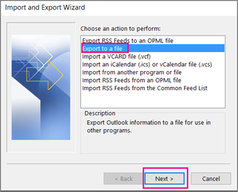 export to file and click next