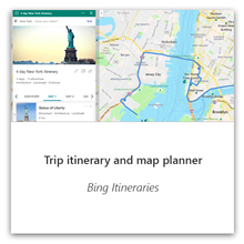 Trip itinerary and map planner with Bing