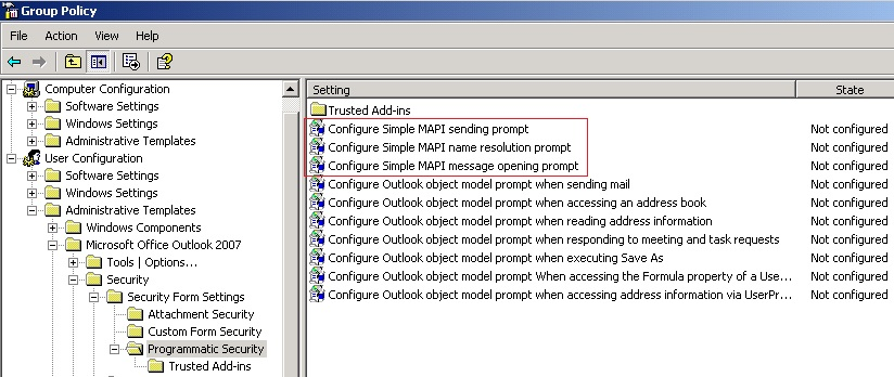 Screen shot for Group Policy.