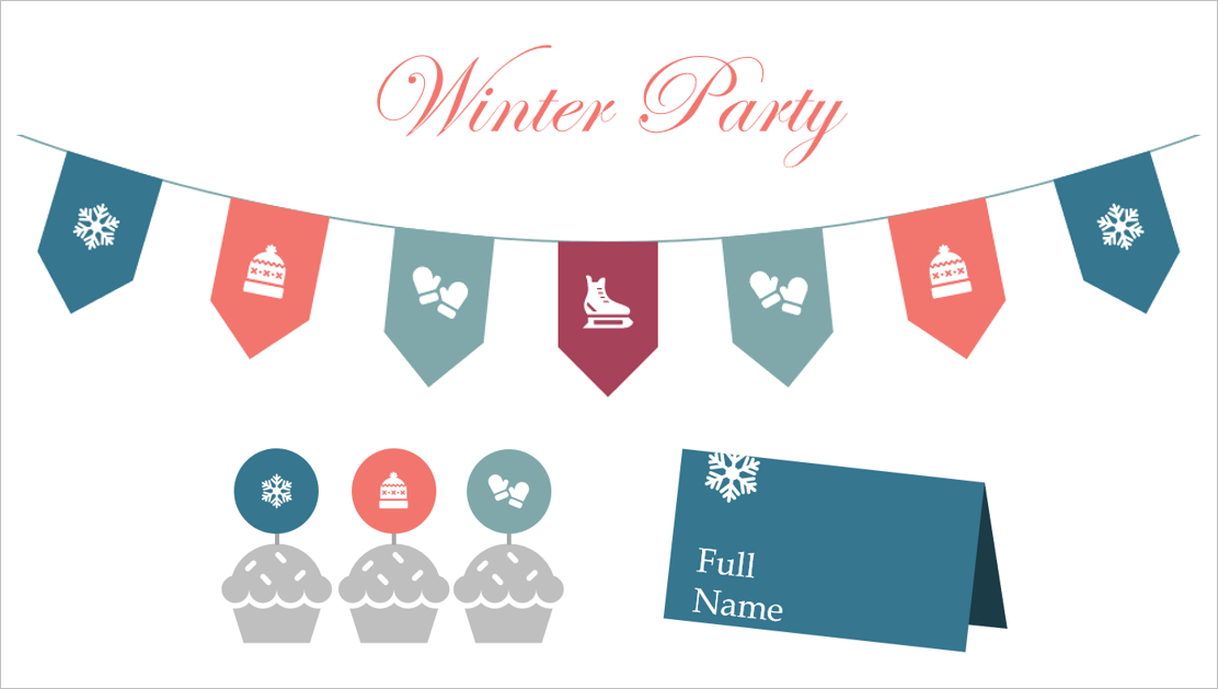 Winter party printable template elements