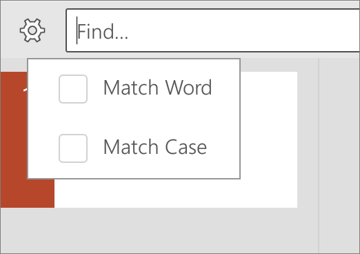 Shows the Match Case and Match Word options in PowerPoint for Android.