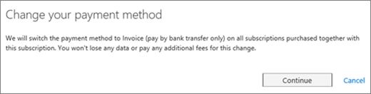 Screen shot of the notice that displays when you switch from credit card to invoice payment.