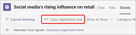Select Copy registration link under the meeting title