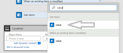 A value collection is listed in Get items when adding a condition