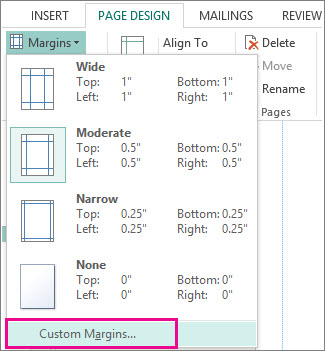 Custom Margins For Printing