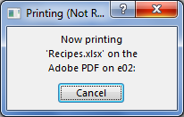 The Printing dialog box appears when you send a document to the printer.