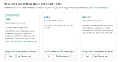 Image of topics with feedback questions