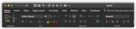 image of the Excel ribbon in dark mode