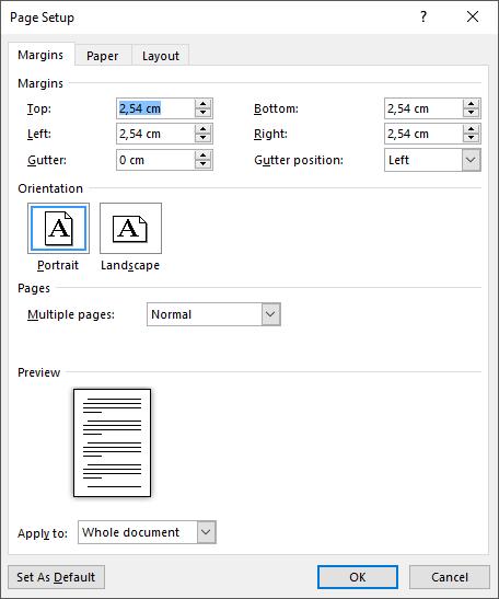 Set custom margins in the Margins tab of Page Setup