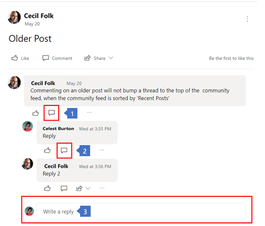 Screenshot with callouts showing methods to create nested replies to a Yammer conversation.