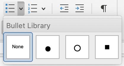 Bullet Library menu in Outlook for Mac.