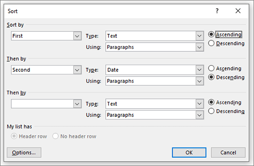 Sort the contents of a table - Office Support