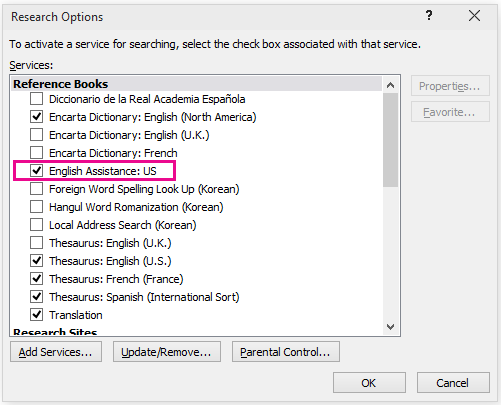 Research options with English Assistance selected