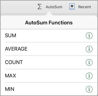 AutoSum functions menu