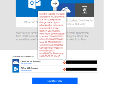 Automatic connection creation error with AADSTS50076