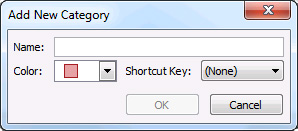 Add New Category dialog box
