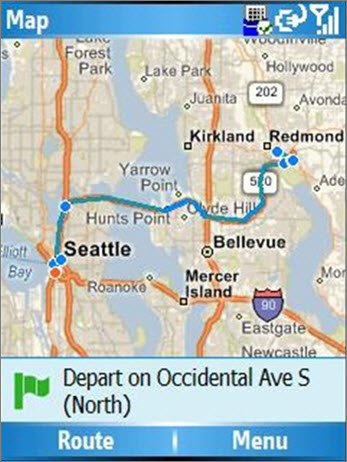 Map showing the route from Seattle to Redmond