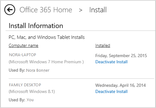 Screen shot of the Install page showing the computer name and the name of the person who installed Office.
