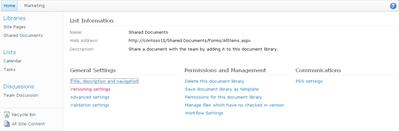 Library settings page with Versioning Settings link displayed