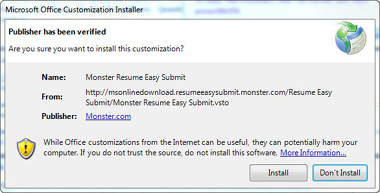 "click ""install"" to install the monster resume easy submit add-in."
