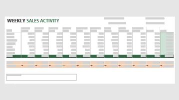 A weekly sales activity template