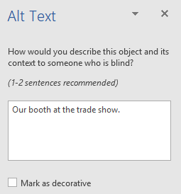 Word Win32 Alt Text pane for shapes