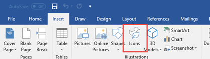 The Illustrations group contains tools that let you add shapes, icons, SmartArt and more to your document