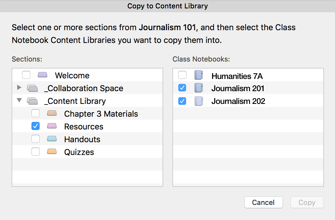 Copy to Content Library dialog box