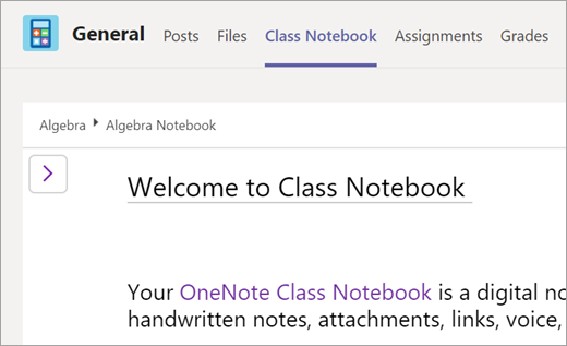 Select the Class Notebook tab in a class team