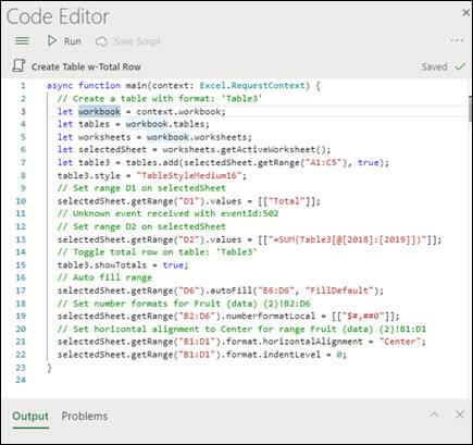 When you select a script from the scripts list, it will display in a new pane that also shows the TypeScript code itself.