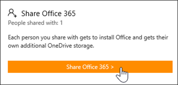 "Screen shot of the ""Share Office 365"" section of the My Account page before the subscription has been shared with anyone."