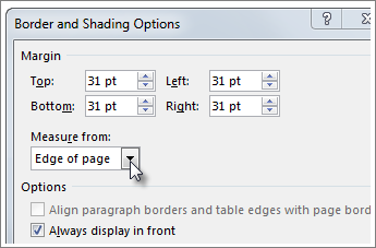 Borders and shading options dialog box