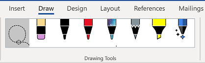 The Drawing Tools tab of the Word ribbon.