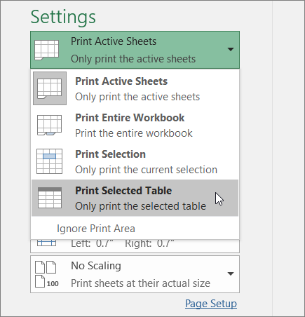 Print a worksheet or workbook excel print selected table ibookread PDF