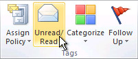Unread/Read command on the ribbon
